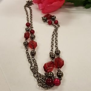 Amazing vintage silvertone red beaded necklace